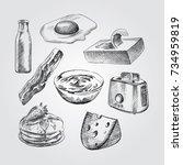 hand drawn breakfast sketches...   Shutterstock .eps vector #734959819