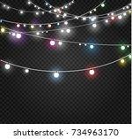 christmas lights isolated on... | Shutterstock .eps vector #734963170