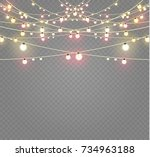 christmas lights isolated on... | Shutterstock .eps vector #734963188