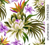 vector tropical pattern with... | Shutterstock .eps vector #734965360