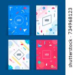 set of neo memphis style covers.... | Shutterstock .eps vector #734968123