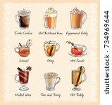 hot winter cocktails menu.... | Shutterstock .eps vector #734969644