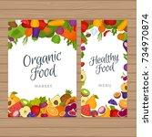 fruits and vegetables menu... | Shutterstock .eps vector #734970874