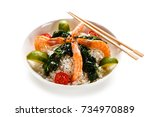 shrimps with white rice and... | Shutterstock . vector #734970889