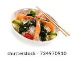 shrimps with white rice and... | Shutterstock . vector #734970910