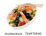 shrimps with white rice and... | Shutterstock . vector #734970940
