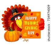 thanksgiving greeting design... | Shutterstock .eps vector #734974009