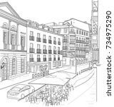 sketch of the street of madrid... | Shutterstock .eps vector #734975290