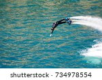 dolphin style during a flyboard ... | Shutterstock . vector #734978554