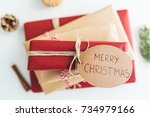 top view of christmas gift... | Shutterstock . vector #734979166