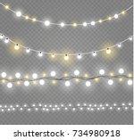 christmas lights isolated on... | Shutterstock .eps vector #734980918