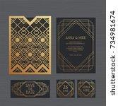 luxury wedding invitation or... | Shutterstock .eps vector #734981674