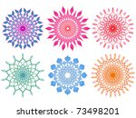 Six Vibrant and Colorful Mandalas - stock photo