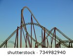 amusement roller coaster in... | Shutterstock . vector #734982940