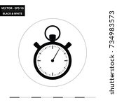 stopwatch flat black and white... | Shutterstock .eps vector #734983573