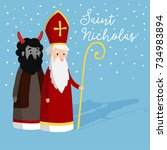 cute saint nicholas with devil... | Shutterstock .eps vector #734983894