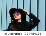 closeup portrait of young... | Shutterstock . vector #734984188