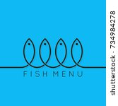 fish menu concept design... | Shutterstock .eps vector #734984278