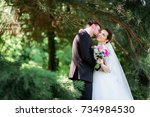 happy groom and bride pose... | Shutterstock . vector #734984530