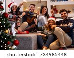 christmas sparklers happy... | Shutterstock . vector #734985448