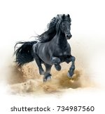 Stock photo black friesian horse running in desert 734987560