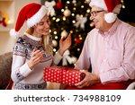smiling elderly father... | Shutterstock . vector #734988109