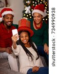 smiling afro american family in ... | Shutterstock . vector #734990938