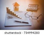 mortgage contract for sale of... | Shutterstock . vector #734994283