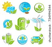collection ecology icons. vector | Shutterstock .eps vector #734994544