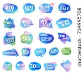set of stickers and labels for... | Shutterstock .eps vector #734995708
