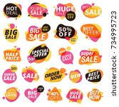 set of stickers and badges ... | Shutterstock .eps vector #734995723