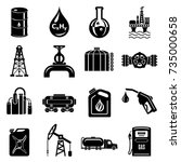 oil industry icons set. simple... | Shutterstock .eps vector #735000658