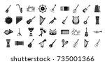 musical instrument icon set.... | Shutterstock .eps vector #735001366