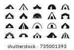 camping dome or tent icon set.... | Shutterstock .eps vector #735001393