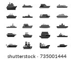 ship icon set. simple set of... | Shutterstock .eps vector #735001444