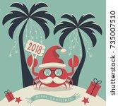 christmas on the island.... | Shutterstock .eps vector #735007510