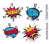 yeah oops sale set lettering.... | Shutterstock .eps vector #735007594