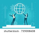 two businessmen holding up the... | Shutterstock .eps vector #735008608