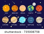 set of cartoon planets of the... | Shutterstock .eps vector #735008758