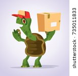 happy smiling turtle courier... | Shutterstock .eps vector #735011833