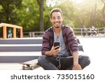 portrait of stylish hipster guy ... | Shutterstock . vector #735015160