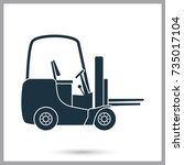 forklift truck boxes simple... | Shutterstock .eps vector #735017104