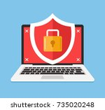 secure laptop locked. data and... | Shutterstock .eps vector #735020248