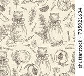 seamless pattern with bottles... | Shutterstock .eps vector #735021634