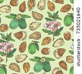 seamless pattern with almond ... | Shutterstock .eps vector #735021640