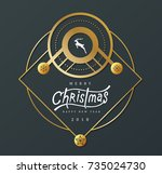 merry christmas with... | Shutterstock .eps vector #735024730