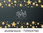 merry christmas calligraphic... | Shutterstock .eps vector #735024760