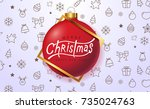 merry christmas greeting card... | Shutterstock .eps vector #735024763