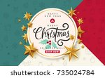 merry christmas with... | Shutterstock .eps vector #735024784