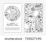 card templates with doodle... | Shutterstock .eps vector #735027190